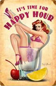 Happy Hour Pin-Up Metal Sign