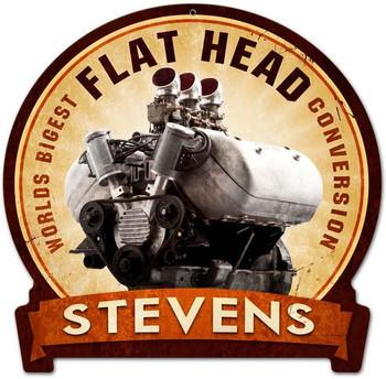 Flat Head Engine Round Banner