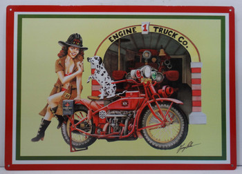 Fire Department Pin Up on Motorcycle with Dalmatian