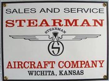 Stearman Aircraft Porcelain Sign
