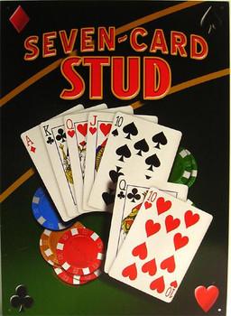 Seven Card Stud Metal Sign