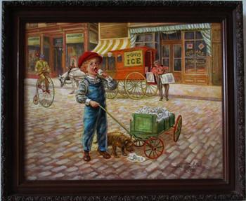 "Lee Dubin Framed Original Painting ""Ice Peddler"""