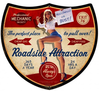 Roadside Attraction Pin-Up Plasma Cut Sign