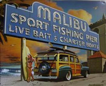 Malibu Sport Fishing Pier Metal Sign