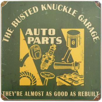 "Auto Parts 12"" Rustic Square Metal Sign"