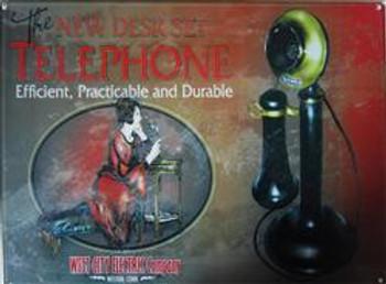 Telephone-Candlestick Advertisement Metal Sign