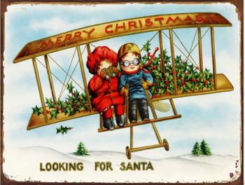 Merry Christmas Looking For Santa Metal Sign