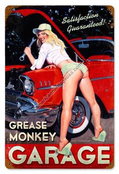 Grease Monkey Garage Pin-Up Metal Sign