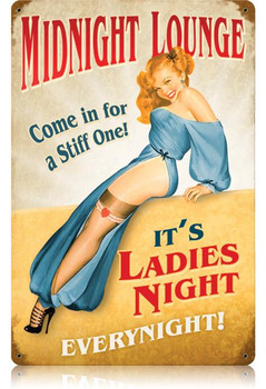 Midnight Lounge Pin-Up Metal Sign