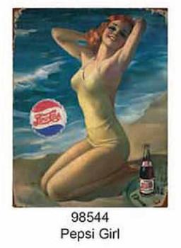 Pepsi Bathing Pin Up Girl Metal Sign