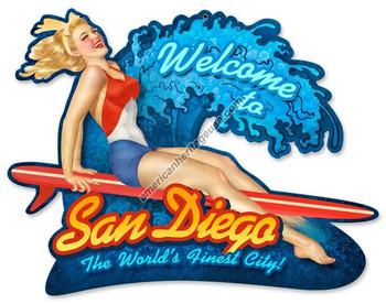 San Diego Surf Girl Plasma Cut Metal Sign