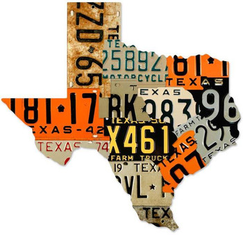 Texas License Plates Plasma Cut Metal Sign