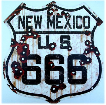 US Route Mexico 666 Metal Shield Sign