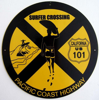 "Surfer Crossing  14"" Round Metal Sign"