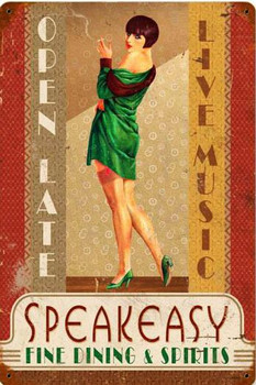 Speakeasy Fine Dining Pin-Up Metal Signs