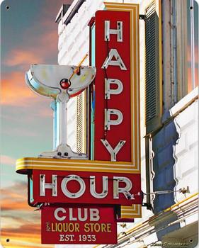 Happy Hour Club Metal Sign