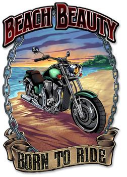 Beach Beauty Motorcycle on Beach Plasma Cut Sign