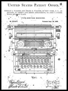 Typewriter US Patent Metal Sign