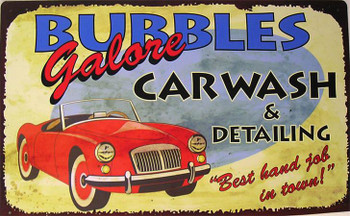Bubbles Car Wash Metal Sign