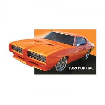 "1969 Pontiac Orange Custom Metal Shape 22"" by 12"""