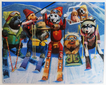 Dogs Skiing Dog Skiers (disc) Metal Sign