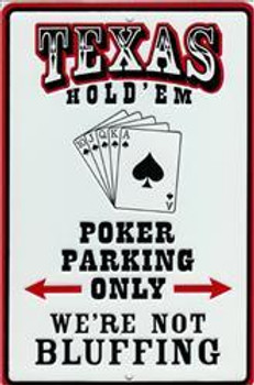 Texas Hold' Em-Embossed Aluminum Sign