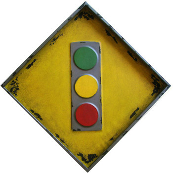 "Traffic Light Embossed Rustic Road Sign 24"" Square"