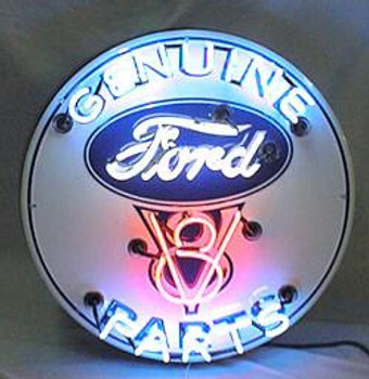 Genuine Ford V8 Parts Advertising Neon