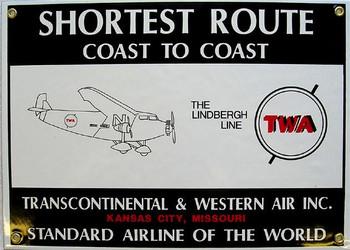 Transcontinental & Western Air Porcelain Sign