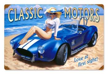 Classic Motors Pin-Up Metal Sign