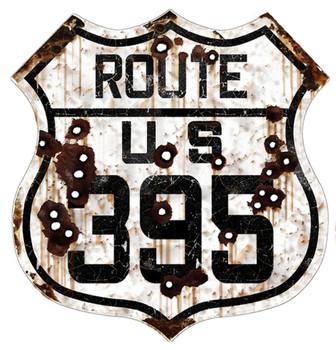 US Route 395 Rustic Metal Shield
