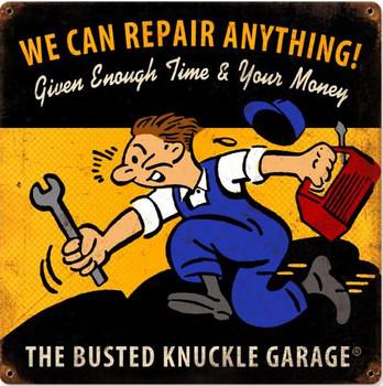 "We Can Repair Anything Vintage Metal Sign 12"" Square"