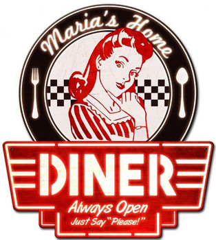 Personalized Mom's Home Diner Plasma Cut Metal Sign