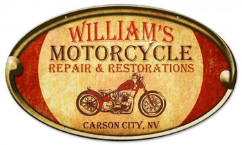 Personalized Motorcycle Repair Oval Metal Sign