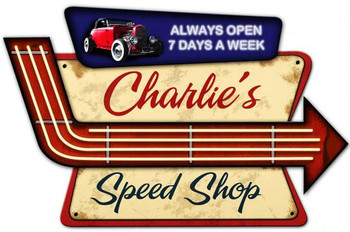 Speed Shop Personalized 3 D Plasma Cut Metal Sign