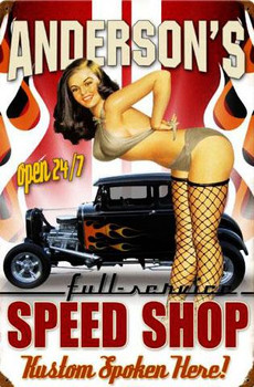 Speed Shop Vintage Metal Sign Personalized
