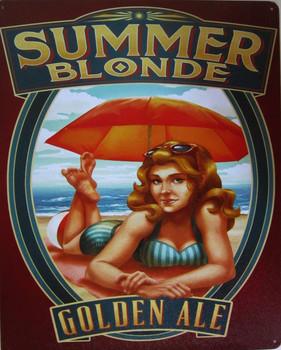 "Summer Blonde Golden Ale Alcohol Metal Sign  Sku: 98537-38A Dimensions: 12"" x 15"""