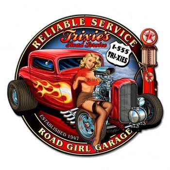 Trixies Road Girl Garage Plasma Cut Metal Sign