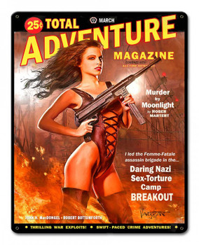 Total Adventure Magazine Pin-Up Girl Metal Sign