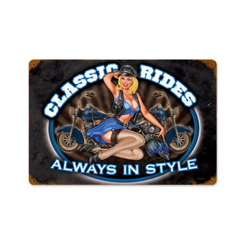 Classic Rides Motorcycle Pin-Up Metal Sign