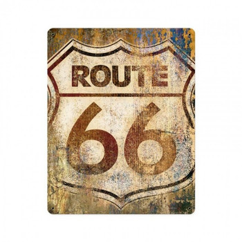 Route 66 Rustic Shield Metal Sign