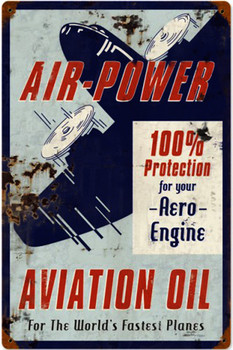 Air Power Aviation Oil Rustic Metal Sign