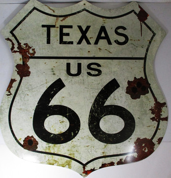 "Texas US 66 Shield Metal Sign 28"" by 28"""