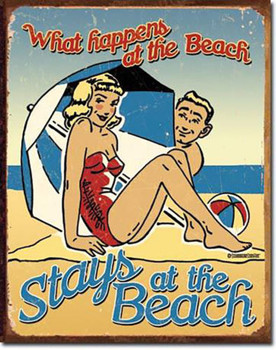 What Happens on the Beach Stays on the Beach (DISC) Tin Sign