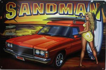 Sandman Pin-Up Car Metal Sign
