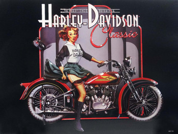 World's Finest Motorcycle Pin Up Babe Harley-Davidson Metal Sign