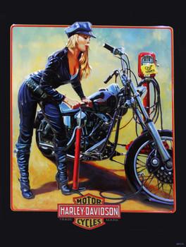 Pump It Up Babe Fixing a Flat Harley-Davidson Metal Sign