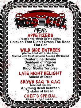 Road Kill Cafe Menu Metal Sign