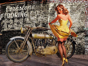 Vintage Harley Davidson Pin Up in Yellow Dress