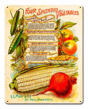 Vintage Vegetables Corn and Tomato Metal sign